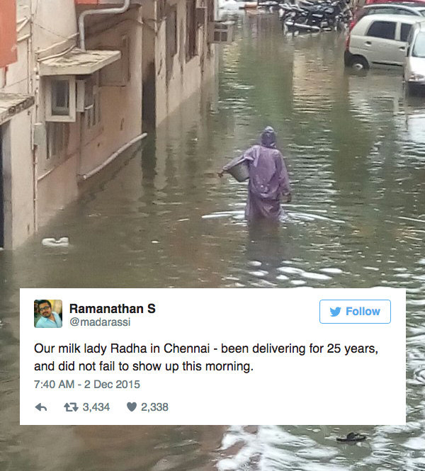 One woman, amidst the city's heaviest rains in a century, sets out to serve customers relying on her.