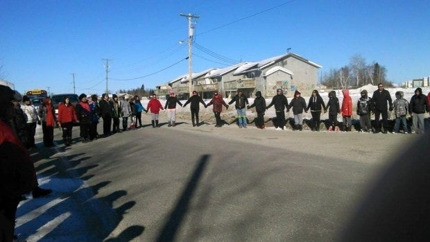 PImicikamak community members organized a suicide prevention walk on Thursday, March 10.