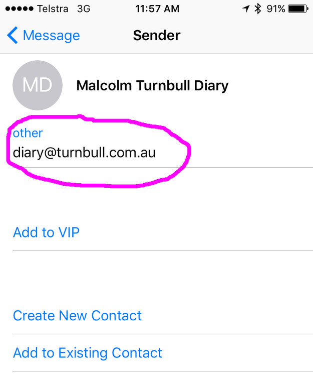 But the most curious element to the invite was the sender's address. It was from the email, diary@turnbull.com.au which sounds like the private email server for the prime minister's family.