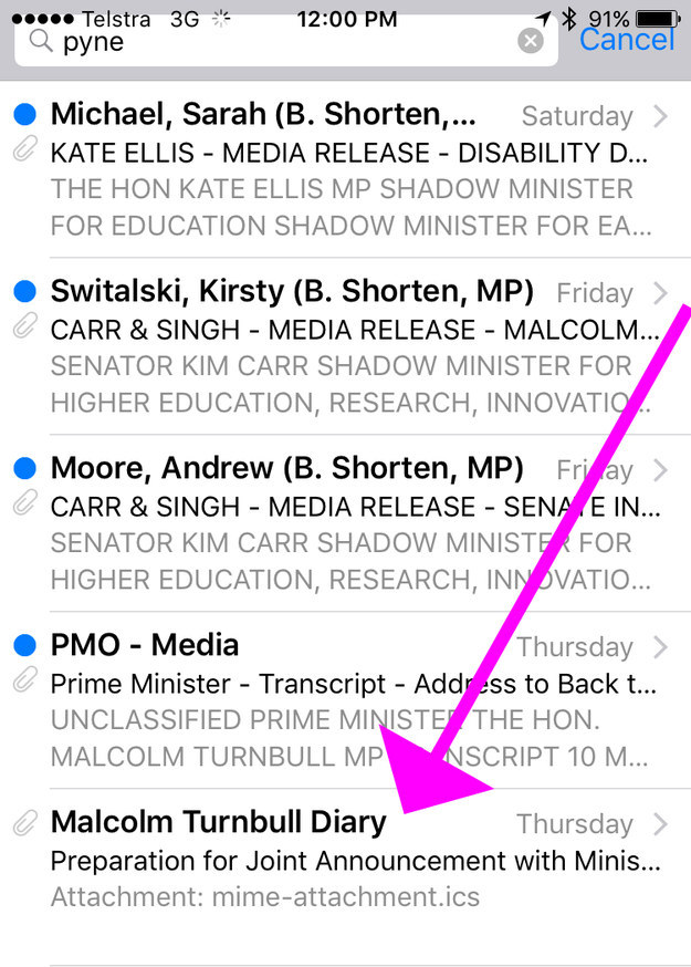 "Last Thursday, I was sent a very confusing calendar invite from an email account called ""Malcolm Turnbull Diary""."