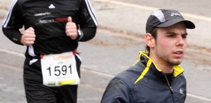 Andreas Lubitz participates in the Frankfurt City Half-Marathon on March 14, 2010.