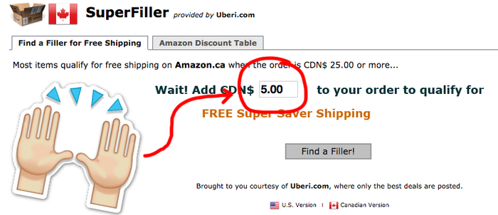 """If your order is $25 or more worth of stuff from Amazon, you may qualify for free shipping. But sometimes it's hard to get up to that amount without overspending. Use the Product Filler website to search for items that will get your overall cost up to the free shipping minimum. For example, if you're buying a book that is $20, you can search the site for items that cost $6 to become eligible for free shipping.Note: The products must have """"eligible for FREE Shipping"""" listed next to their price."""