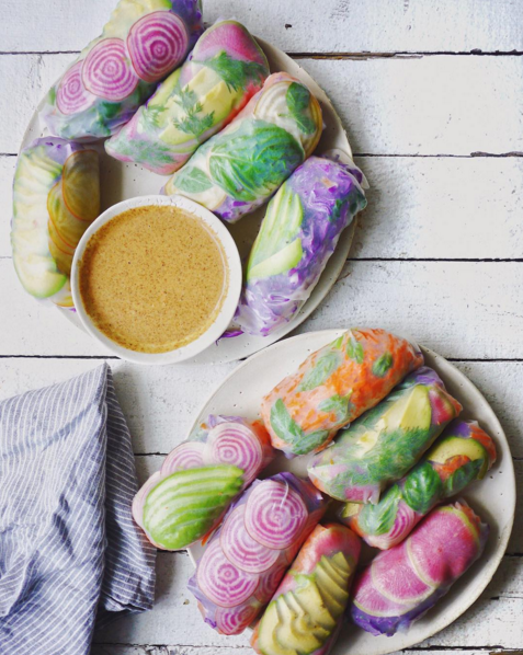 These psychedelic salad rolls.