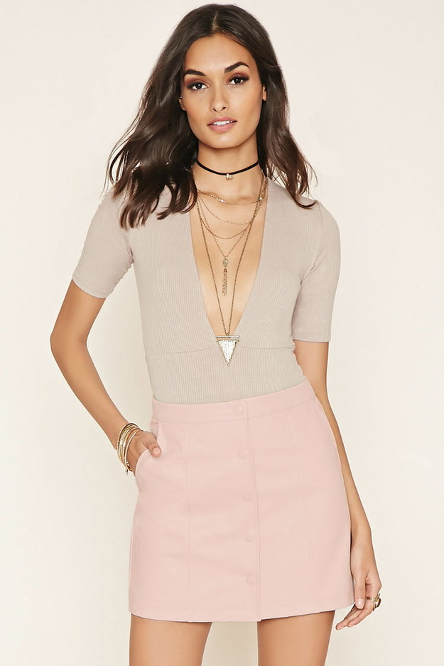This blush faux leather mini.