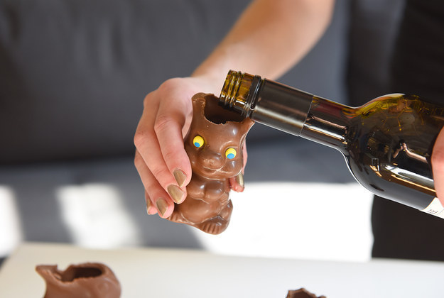 Or, go the easy route, and pour some wine into a chocolate bunny.
