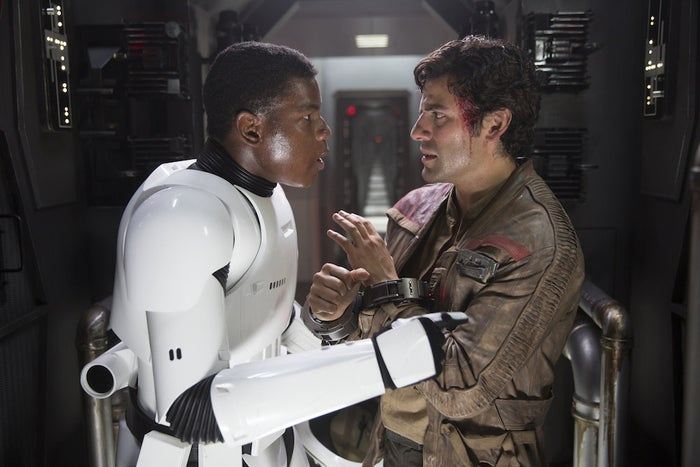 Abrams estimates that Boyega auditioned nine times before he was cast as the erstwhile Stormtrooper. The doc stitches together three of those auditions to recreate the scene in which Finn admits that he's rescuing Poe because he needs a pilot. (And even at that stage, the British-born Boyega was using an American accent for the role.)