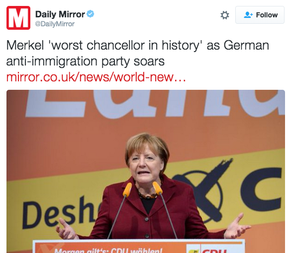 """The Mirror has published a piece quoting the leader of the anti-immigration party Voters for the Alternative for Germany, Andre Poggenburg, as describing Angela Merkel as the """"worst chancellor in history""""."""