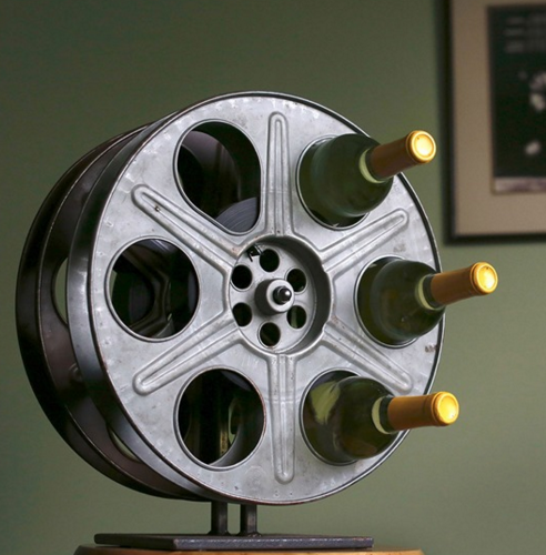 Store your wine in a repurposed film reel.