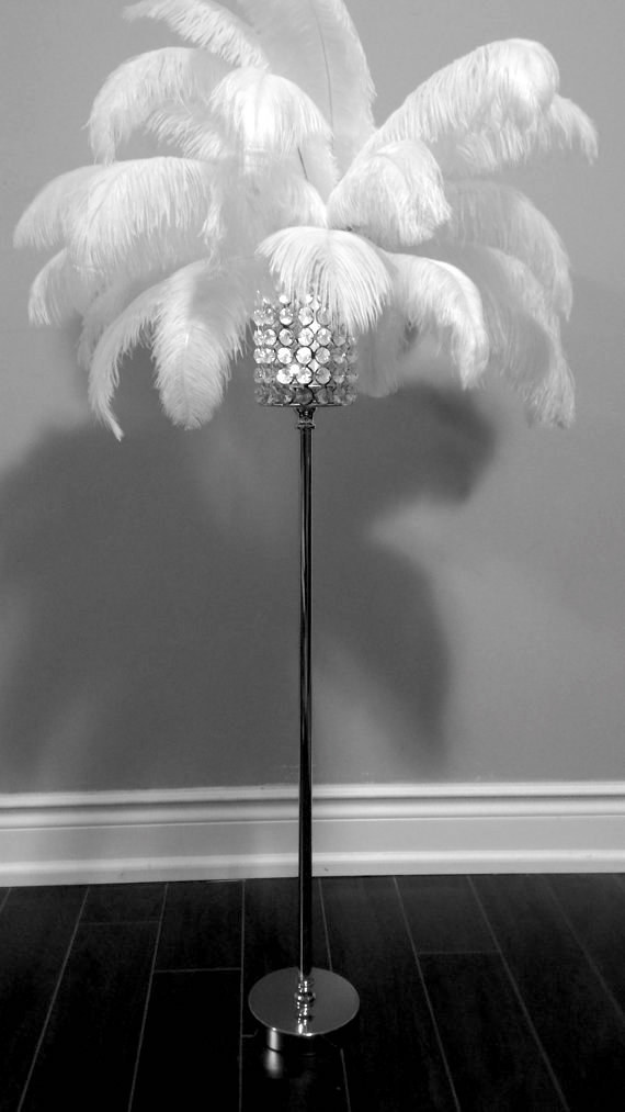 Go big with opulent, feather-adorned lighting.