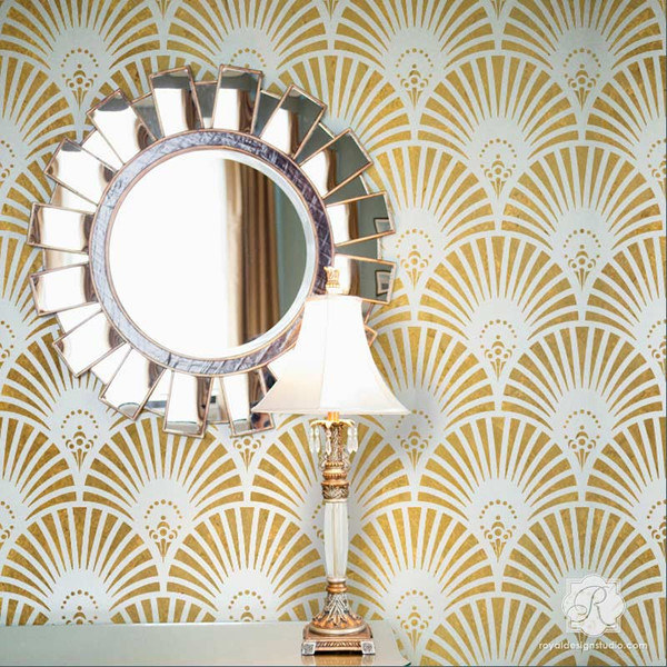 Get your Gatsby on with a gold art deco-inspired wall stencil.