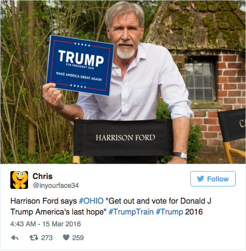 A picture of Harrison Ford holding a Donald Trump sign was circulating on online Tuesday, just as Republicans in Ohio, Florida, and other states prepared to host winner-takes-all primaries.