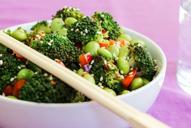 Broccoli is a great source of Potassium and Vitamin A. Get the recipe for this Broccoli and Edamame Bowl here!