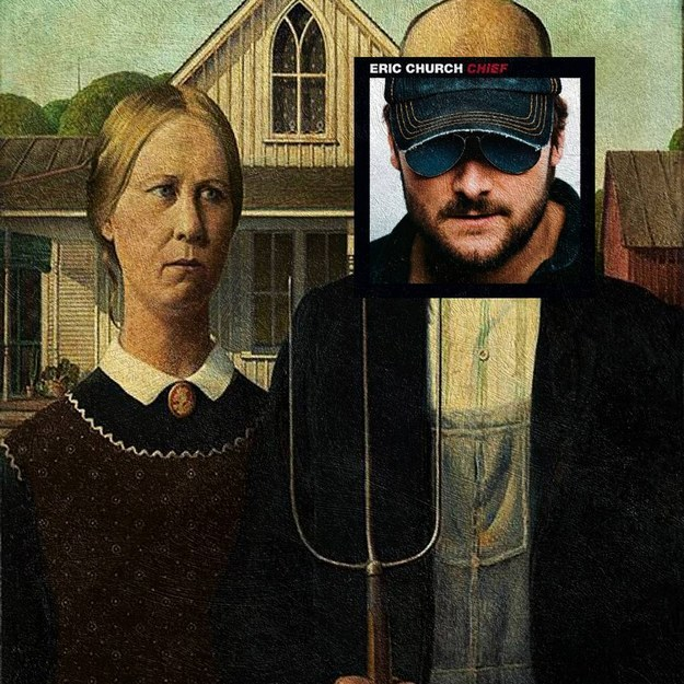 Country singer Eric Church as the farmer in Grant Wood's American Gothic? Yes, please!