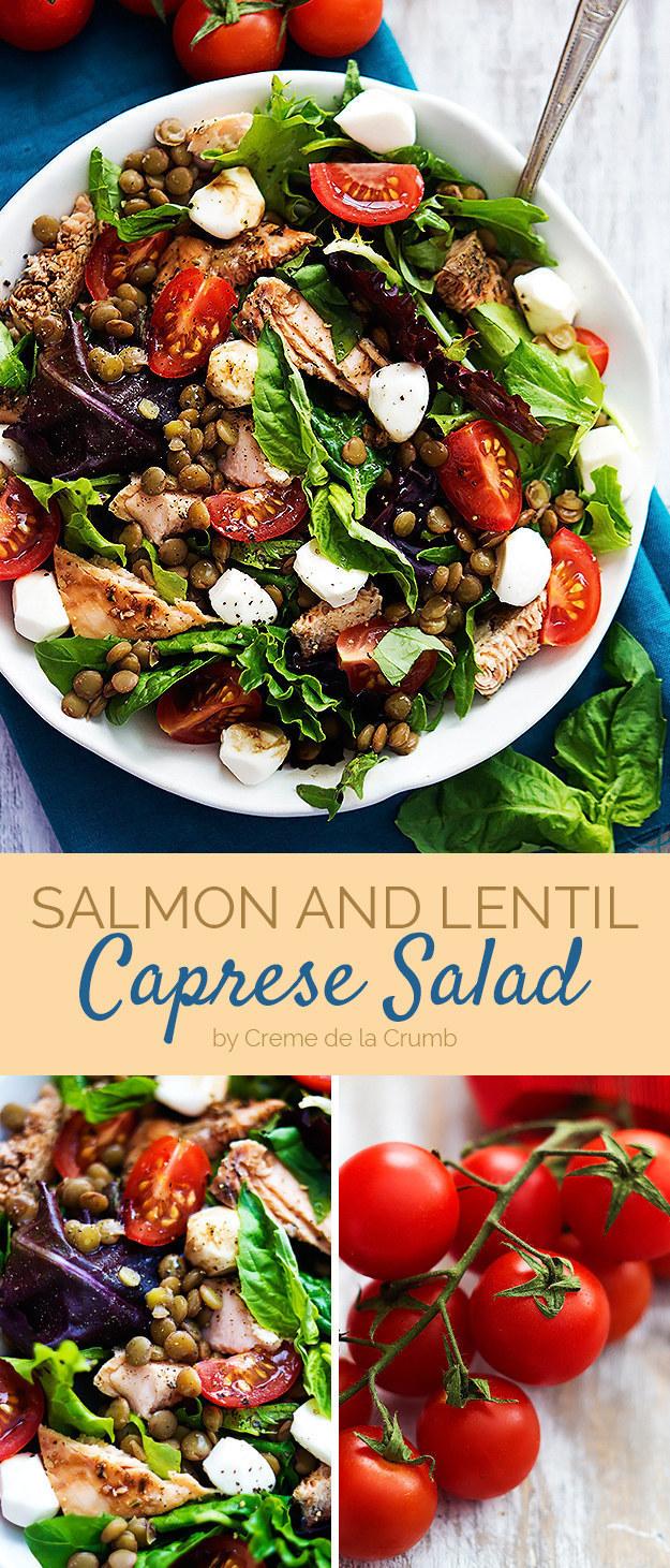 Salmon and Lentil Caprese Salad