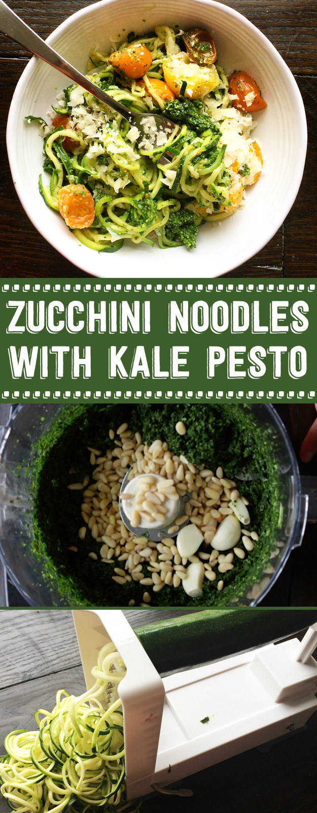 Zucchini Noodles with Kale Pesto