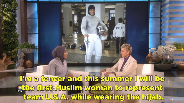 Muhammad is making history by representing America in this year's Rio Olmypics and she stopped by Ellen to talk about her journey.