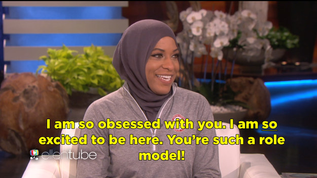 Even though she's a role model herself, Ibtihaj was also really pumped to hang with Ellen.