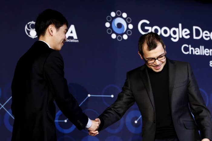 Lee Sedol shakes hands with Demis Hassabis, CEO of DeepMind, after finishing the final match in Seoul.