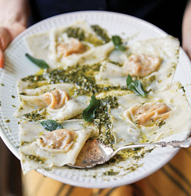 Butternut Squash Ravioli With Hazelnut Pesto