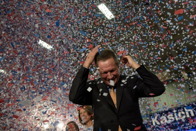 This time, in Ohio where Kasich won, oh was there confetti.