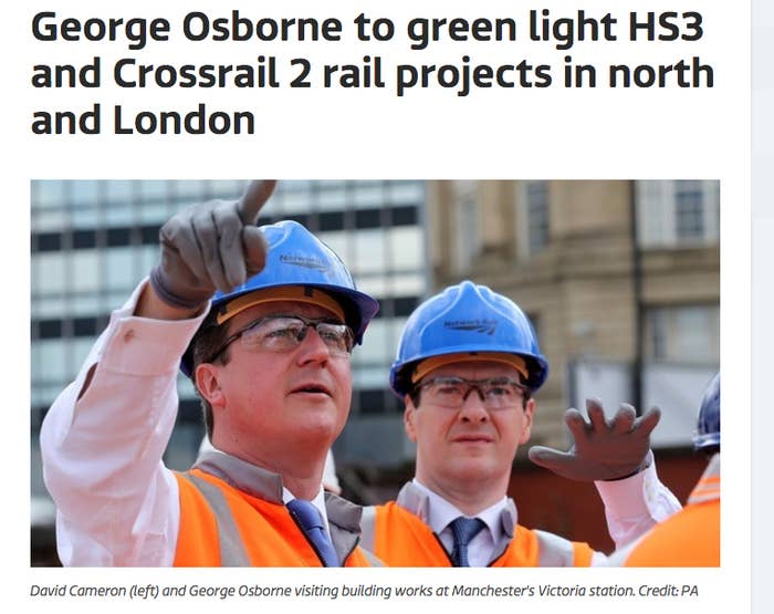 """Crossrail 2, which has been proposed for decades, is likely to get the go-ahead. It's a project to build an entirely new railway line in a tunnel through central London, connecting Wimbledon in the southwest of the city to Hackney in the northeast. Osborne has said he'll make it his """"priority for London"""" and it's expected to cost a lot of money, which will require substantial central government investment. However, there's already a detailed route and planning is well underway.High Speed 3, which will link Leeds and Manchester? Well, that's a bit different. What's been announced isn't exactly the entirely new transport link you might imagine."""