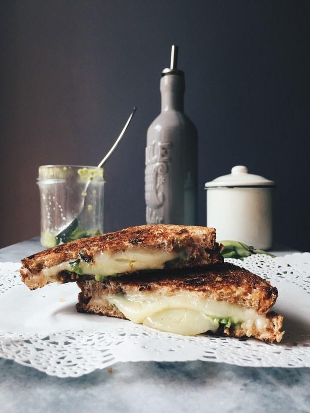 Pecorino Grilled Cheese Sandwich With Fava Beans Pesto