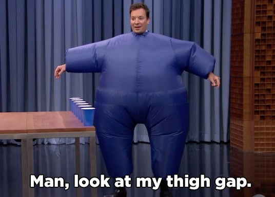 Jimmy's version just has the extra challenge of wearing an inflatable suit.