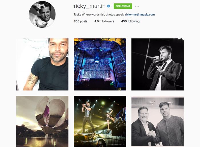 Ya sabes, llena de fotos de conciertos, amigos famosos, arte, y muchas selfies.