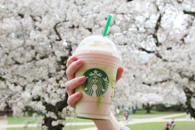So, yesterday Starbucks announced a new flavor would be joining its Frappuccino family: cherry blossom.