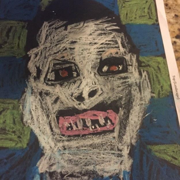 Tu hermanito regresó de la escuela con este dibujo.