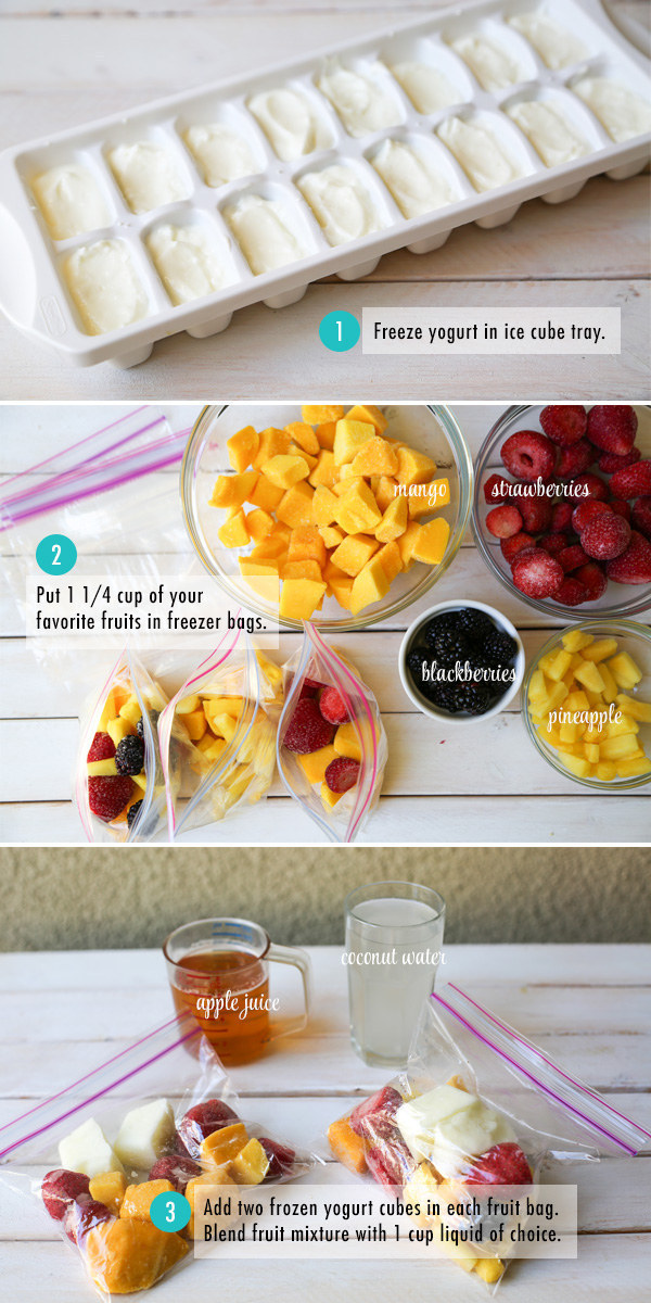 Make smoothie packs using frozen yogurt cubes and fresh fruit, so you have a delicious breakfast every morning for the full work or school week.