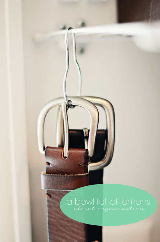 If your belt collection is on the smaller side, use shower curtain rings to hang them from your closet rod or wire shelf.