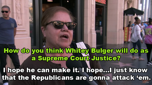 For example, this woman was asked about how she thought Whitey Bulger would fare as a court justice.