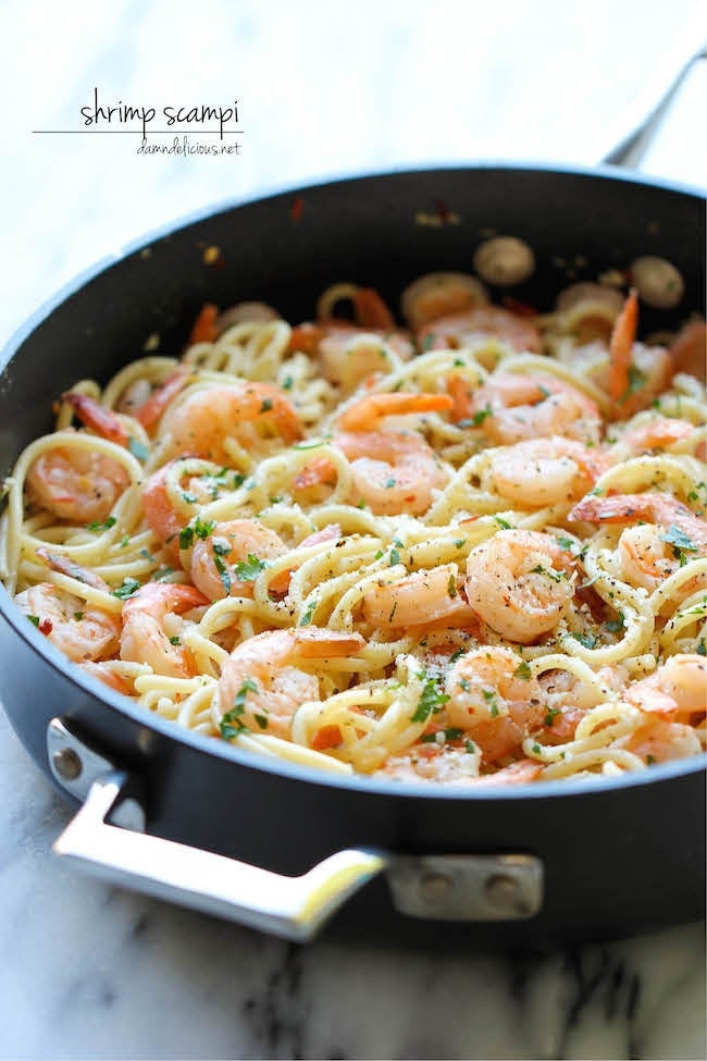 Super Easy Shrimp Scampi made all in one pan, what more could you ask for?! via Damn Delicious