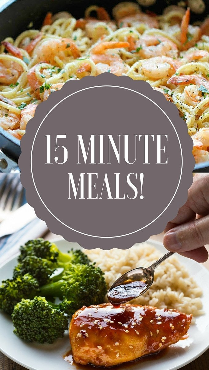 It's five o' clock and you STILL haven't planned what's for dinner?! Yeah, me either so here's a collection of tasty 15 minute meals you can whip up in next to no time.