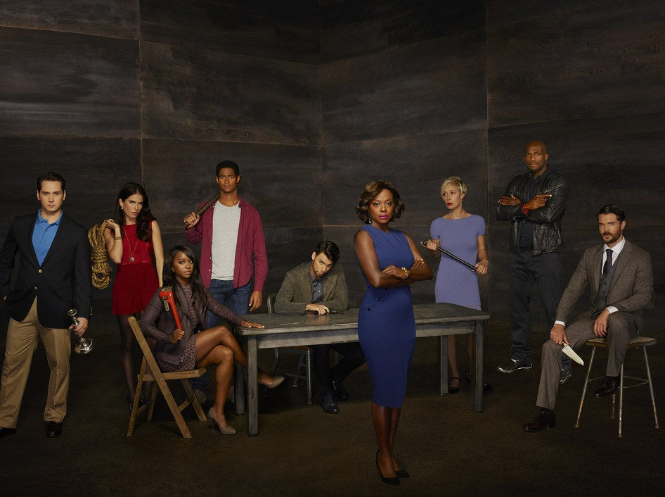 The cast of How to Get Away with Murder: Matt McGorry, Karla Souza, Aja Naomi King, Alfred Enoch, Jack Falahee, Viola Davis, Liza Weil, Billy Brown, and Charlie Weber.