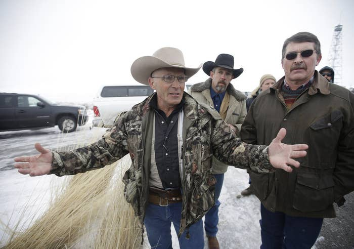 LaVoy Finicum, left, at the Malheur National Wildlife Refuge in January.