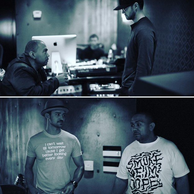 Interestingly, the photo was filtered in the same aggressively navy-hued way as the studio photos he shared last week to celebrate the birthday of his longtime collaborator, Timbaland.