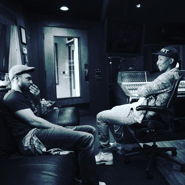 Big news, folks: Justin Timberlake was hanging out with Pharrell Williams in the recording studio last night!