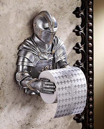 Obtén un caballero medieval que dispense el papel higiénico por ti.