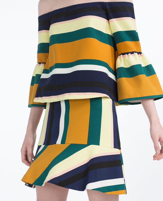 This funky striped trumpet skirt.