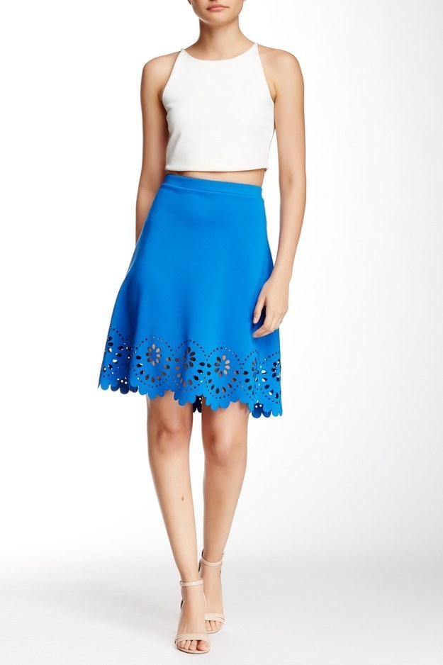 This laser cut skirt in the happiest shade of blue.