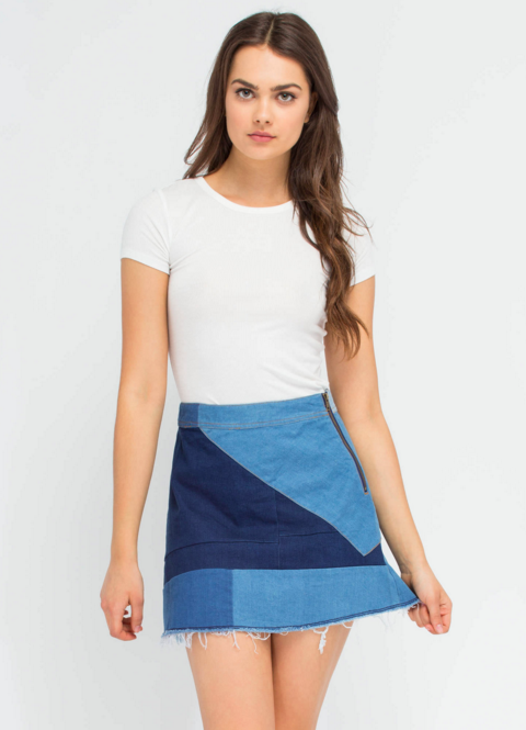 This patchwork jean skirt.