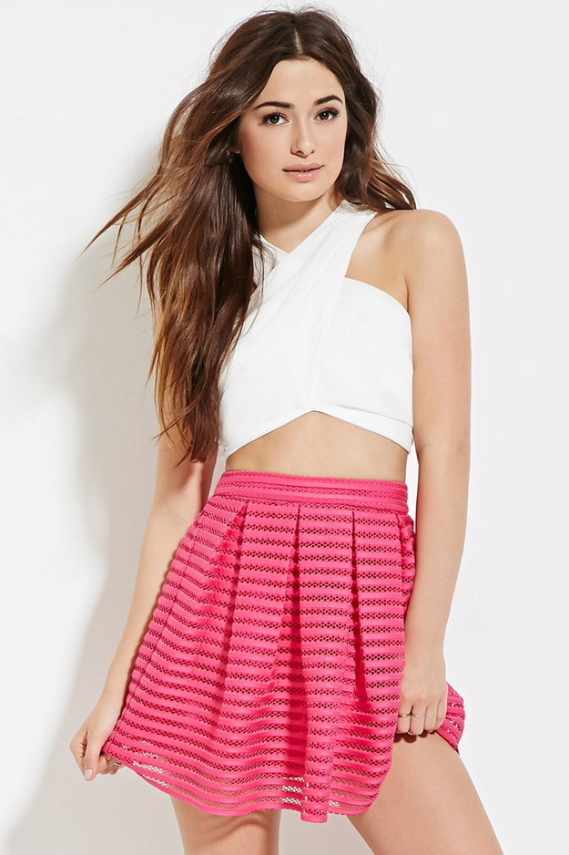 This hot pink mesh skirt.