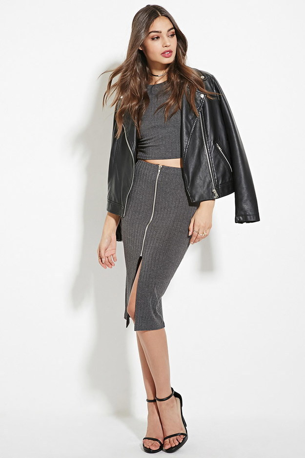 This gray skirt that zips up the front.