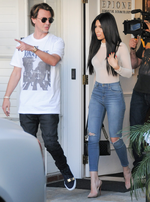 Kim Kardashian was filming Keeping Up with the Kardashians in Beverly Hills yesterday...