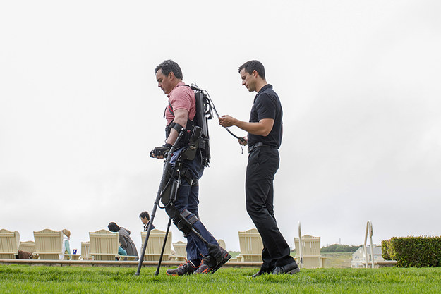 Exoskeletons allow paraplegics to walk upright.