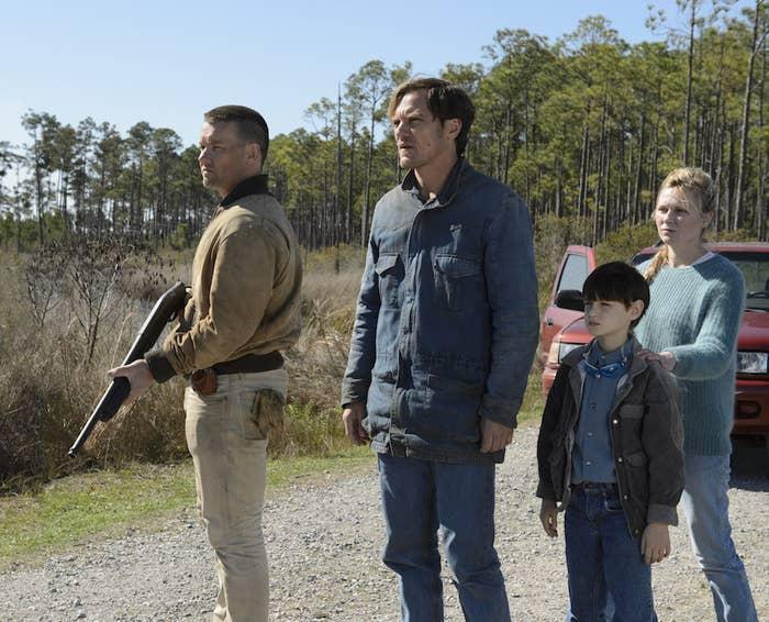 Joel Edgerton, Michael Shannon, Jaeden Lieberher,and Kirsten Dunst in Midnight Special.