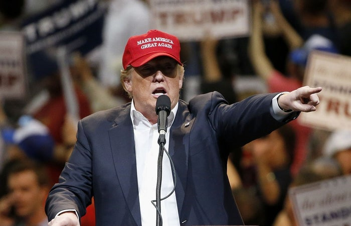 Republican presidential candidate Donald Trump speaks during a campaign rally Saturday in Tucson, Arizona.
