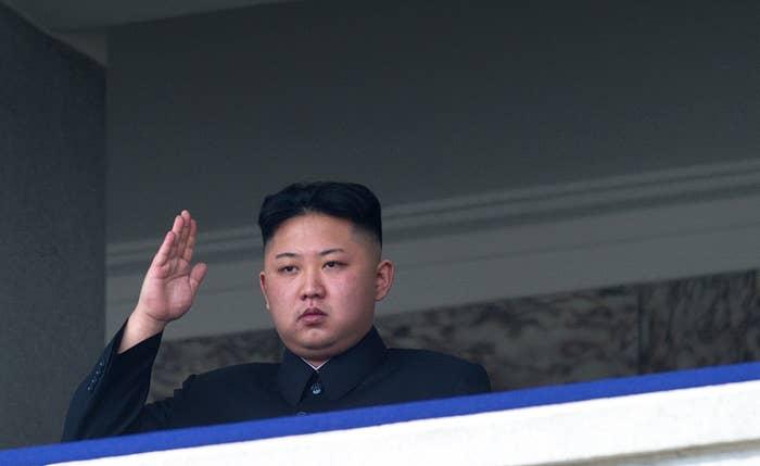 North Korean leader Kim Jong-Un saluting